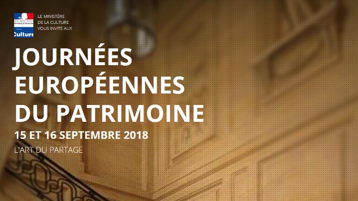Journées du Patrimoine – 15 et 16 septembre 2018
